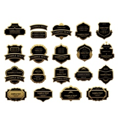Golden and black vintage labels set vector image