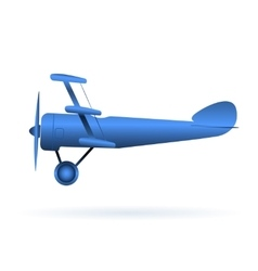 blue toy airplane over white vector image vector image