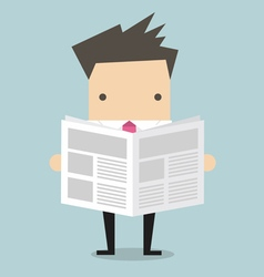 Businessman standing and reading a newspaper vector