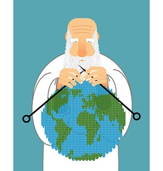 God Making Earth Knitting World Establishment of vector image