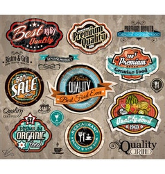 Set of Premium Quality Vintage Labels vector image