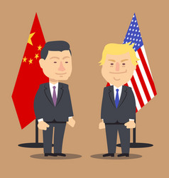 xi jinping and donald trump standing together with vector image