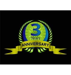 3 years anniversary laurel wreath set vector