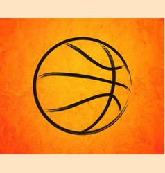 abstract basketball drawn on a orange background vector image