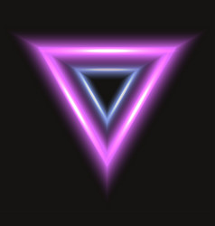 Abstract frame with neon triangle on black vector
