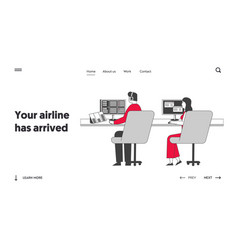 Air controllers characters working landing page vector