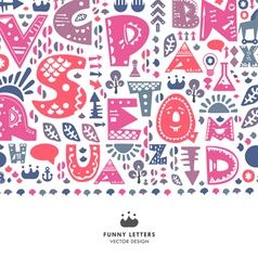 Alphabet funny letters background vector image