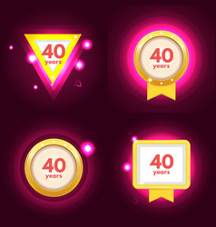 anniversary 40 icons set vector image