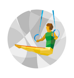 artistic gymnastics - athlete on rings vector image