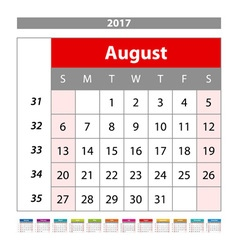 August 2017 Calendar Planner for 2017 Year Week vector image