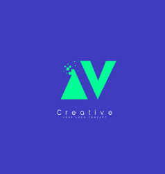 Av letter logo design with negative space concept vector