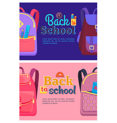 Back to school posters with backpacks for children vector