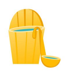 Bath barrel with ladle cartoon vector