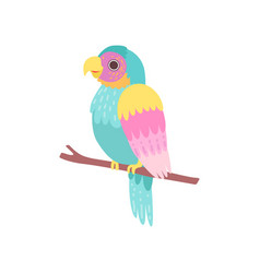 beautiful tropical parrot sitting on perch vector image