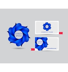 Business emblem icon of blue leaves vector image