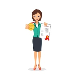 Business woman holding golden medal and vector