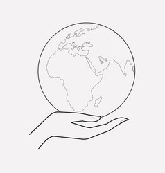 Care about world icon line element vector