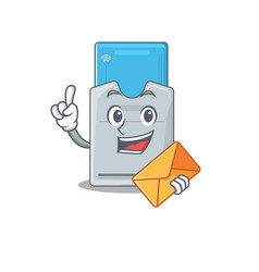 Cheerfully key card mascot design with envelope vector