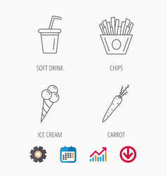 Chips fries ice cream and soft drink icons vector