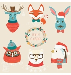 Christmas cute forest animals heads logo set vector