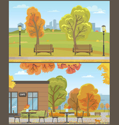 city park and empty cafe autumn season vector image