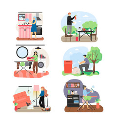 cleaning company staff cleaner lady garbage vector image