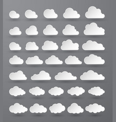 Cloud abstract white cloudy set isolated on dark vector