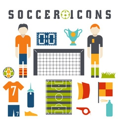 collection of flat icons on the theme of football vector image