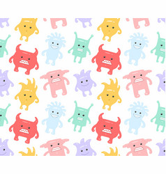 colorful seamless monsters pattern vector image