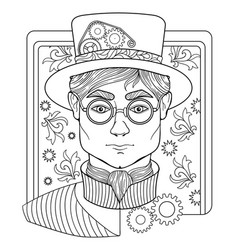 Coloring page for adults with man face and vector