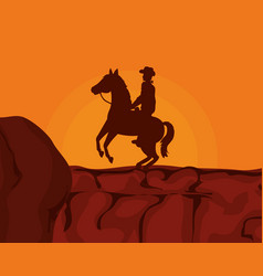 Cowboy on horse desert sunset vector