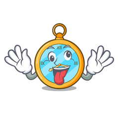 Crazy gold vintage clock with picture cartoon vector
