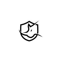 creative rhinoceros logo design symbol vector image