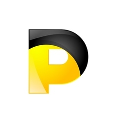 Creative yellow and black symbol letter P for your vector image vector image