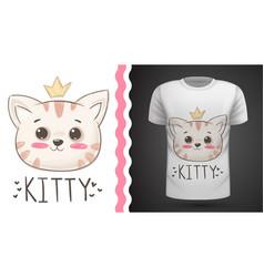 Cute cat - idea for print t-shirt vector