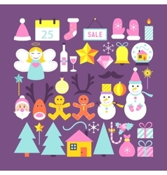 Cute Happy New Year Objects vector image vector image