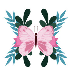 Cute pink butterfly foliage leaves nature isolated vector