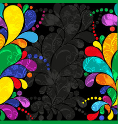 Dark gray floral frame with multi-colored paisley vector