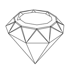 Diamond icon in outline style isolated on white vector