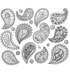 ethnic abstract lace hand drawing elements vector image
