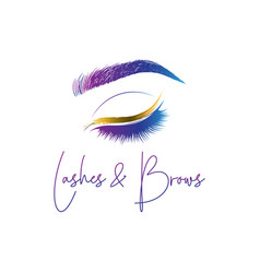 eyelashes and eyebrows make up design logo vector image