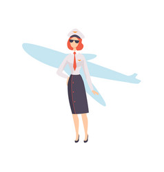 female airline pilot character in uniform vector image