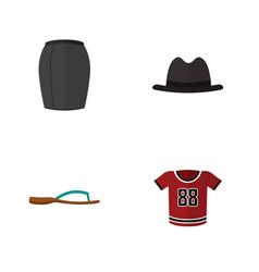 Flat icon garment set of t-shirt panama beach vector