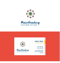 Flat sheild protected logo and visiting card vector