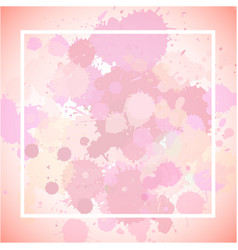 Frame template design with pink splashes vector
