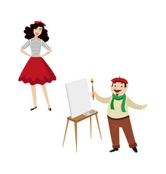 French characters funny artist and fashion girl vector
