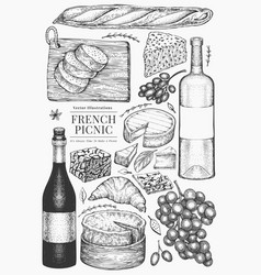 French food set hand drawn picnic meal engraved vector