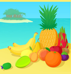 fruits collection concept cartoon style vector image