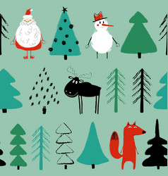 funny christmas holiday seamless pattern vector image