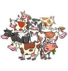 Funny cows cartoon farm animals group vector